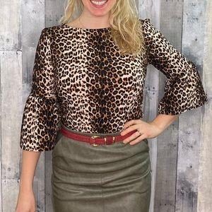 Green envelope leopard print bell sleeve top M